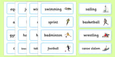 The Olympics Sports Events Word Cards