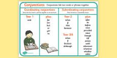 Conjunctions Word Mat
