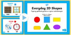 EYFS Everyday 2D Shapes PowerPoint English/Polish