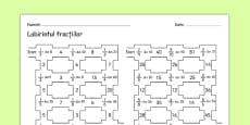 Labirintul fracțiilor - Fișă de lucru