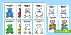 Describe It Colour It Teddy Game English/Polish