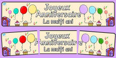 French Happy Birthday Display Banner Romanian Translation