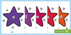 Foundation Stage 2 Keywords on Stars (Multicolour)