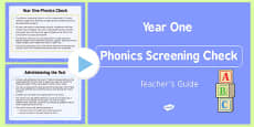 Teacher's Guide to the Phonics Screening Check