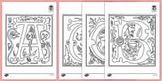 Medieval Alphabet Colouring Sheets