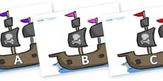 A-Z Alphabet on Pirate Ships
