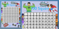 Superhero Themed 100 Square