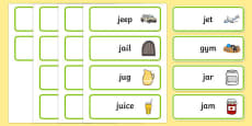 Initial j Sound Word Cards