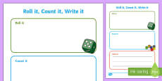 Roll it, Count it, Write it   Number Activity Sheet