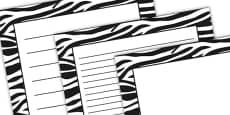 Zebra Pattern Portrait Page Border