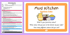 Rainbow Cake EYFS Mud Kitchen Plan and Prompt Card