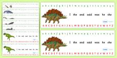 Realistic Dinosaurs Alphabet Strips