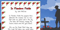 Australia - Remembrance Day Poem 'In Flanders Fields' A4