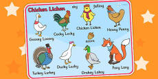 Chicken Licken Character Word Mat