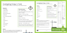 Energy in Foods Investigation Instruction Sheet Print-Out