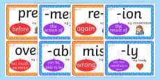 Prefix and Suffix Types Mini Display Posters