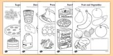 Healthy Eating Colouring Sheets