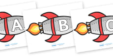 A-Z Alphabet on Rockets (uppercase)