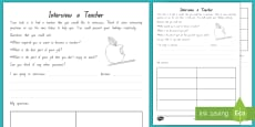 Interview a Teacher Activity Sheet to Support Teaching on Ms. Bixby's Last Day