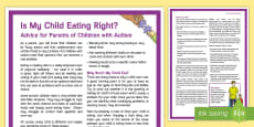 My Child's Eating Habits: Children with Autism Adult Guidance