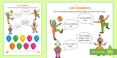 Colours Activity Sheet - French