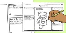 Design a Creature for a Habitat Activity Sheet