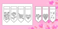 Valentine's Mindfulness Colouring Bookmarks