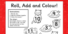 Christmas Cat Themed Roll and Colour Activity Sheet