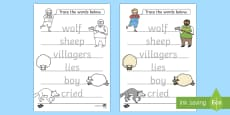 The Boy Who Cried Wolf Trace the Words Activity Sheets