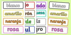 Spanish Colour Vocabulary Cards