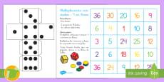 Juego de mesa: Multiplicación con dados - 4 en línea