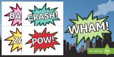Comic Superhero Word Cut-Outs