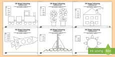 Colour by 2D Shapes Activity English/Mandarin Chinese