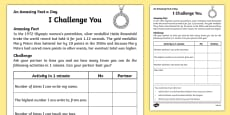 I Challenge You Activity Sheet