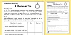 I Challenge You Activity Sheet