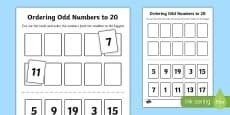 Number Ordering Odd Numbers to 20 Activity
