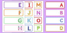 Upper Case Monster Alphabet Drawer Peg Name Labels