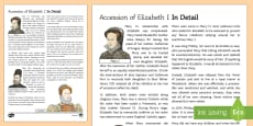 The Accession of Elizabeth I Information Sheet