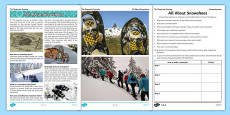 The Desperate Journey All About Snowshoes Comprehension Activity