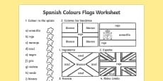 Spanish Colouring Flags Activity Sheet