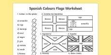 Ficha de colores y banderas en inglés