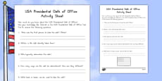USA Presidential Oath of Office Activity Sheet