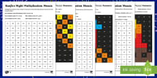 * NEW * UKS2 Bonfire Night Maths Mosaic Differentiated Activity Sheets