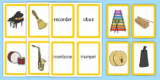 Musical Instrument Matching Cards Actions Pack