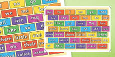 Coloured Brick Wall Tricky Words Mat