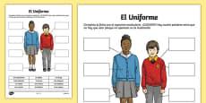 School Uniform Activity Sheet Spanish / Español