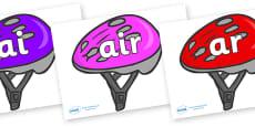Phase 3 Phonemes on Bike Helmets (Multicolour)