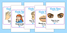 Circle Time Rules Square Display Posters Polish Translation