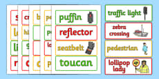 Road Safety Word Cards