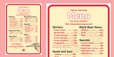 Chinese Takeaway Role Play Menu